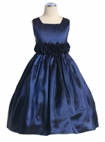 Girls Navy Dress - Flower Waist Taffeta SIZE