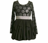 Black & Silver Dot Jersey Knit Bubble Dress  SOLD OUT