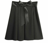 Black Pleated Skirt with Satin Ribbon Sash  SOLD OUT