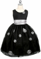 Girls Party Dress - BLACK / Silver Organza Polka Dot
