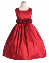 Red Taffeta Dress with Flower Waist  - out of stock