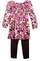 Anita G.  Smocked Print Top and Stretch Leggings - SIZE 14