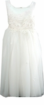 Girls Formal Dress IVORY with Tulle and Beadwork  6  - 12