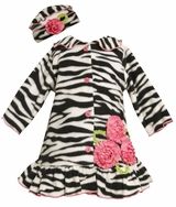 Black and White Zebra Print Coat and Hat Set