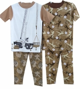 Boys Pajamas - 2 Pack Brown Baseball / Construction - sz  6