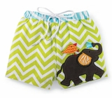 Infant or Toddler Boys Swim Trunks -  Elephant Safari