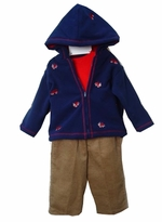 Infant Boys Navy Fleece Jacket Set - 3 Pcs   sold out