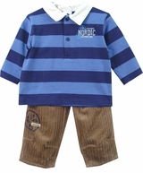 ABSORBA QUALITY  - Infant Boys Stripe Polo & Pant Set