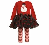 Girls Christmas - Black and Red Dots and Bows Snowman