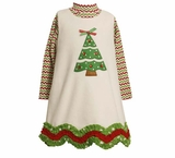 Girls Christmas Dress - Ivory Scalloped Hem Tree Dress