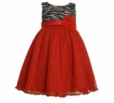 Girls Holiday Dress -  Red and Zebra Sequin Dress