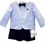 Blue Boys Eton Suit - Seersucker With Sailboat - SOLD OUT