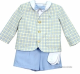 Boys Eton Suit - Yellow /lt Blue Plaid - SOLD OUT