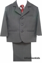 Boys Suits - Charcoal Grey Suit And Burgundy Tie Set - 5 Pcs - sold out