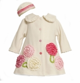 Bonnie Jean - Ivory Pink Bonaz Flower Fleece Coat and Hat Set