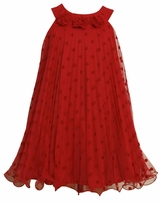 Girls  Party Dress 7-16 -  Red Pleat Chiffon Dot