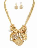 Matte Gold Shell Charm Necklace and Earring Set  - SOLD OUT