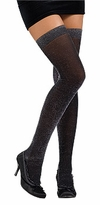 Adult - Womens Stockings Black GLITTER Thigh High Stockings