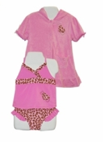 Baby Buns Infant Girls Swimsuit -  Pink Leopard with Robe