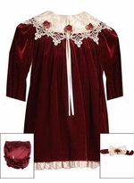 Baby Dress - Burgundy Velvet With Lace Portrait Collar - SOLD OUT