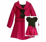 Beautiful Fuchsia Rosette Coat & Dress  sold out