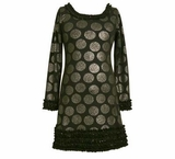 Black / Silver Ruffle Dot Girls Dress - SOLD OUT