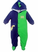 Blue and Green Dino Hooded Fleece Outwear Coverall