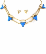 Blue Triangle Spike Necklace and Earring Set