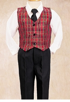Boys Christmas Clothes - Tartan Plaid Vest Set
