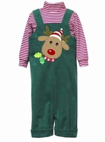 Boys Christmas Reindeer Overall Outfit