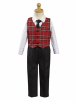 Boys Christmas Suit with Plaid Vest and Tie - 4 Pc Set