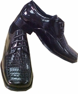 Boys Faux Crocodile Black Dress Shoes - Boys  sz 2