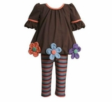 Brown and Daisy Top with Striped Leggings  SOLD OUT