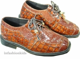 BROWN Boys Dress Shoes - Faux Crocodile  - Young Boys 3  to 6