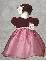 Burgundy Infant Dress - Pink Roses - SOLD OUT