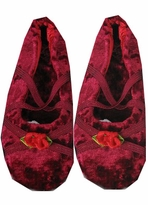 Burgundy Stretch Velvet Ballet Slippers