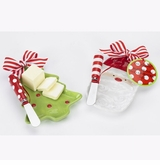 Butter Dish Set - Choose Tree or Santa out of stock