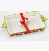 Ceramic Rectangle Baker With Christmas Tree Handles SOLD OUT