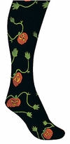 Childs Pumpkin Tights - Black With Pumpkin Print