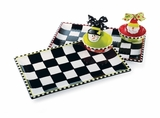 Chip And Dip Set - Ceramic Black and White Checkerboard