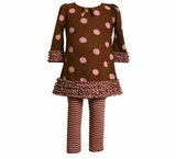 Chocolate Brown Pink Ruffle Dot Tunic Set - sold out m