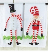 Christmas Towel Set of 2 -  Dangle Snowman and Santa