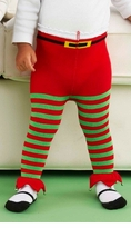 Elf Green Red Stripe JINGLE Tights