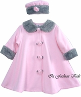 Girls Coat & Hat - Pink Fleece Coat With Grey Fur  SOLD OUT
