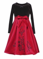 Girls Formal Dress - Red with Black Flocking - SOLD OUT
