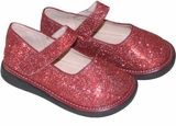 Girls Red Sparkle Mary Jane Shoes