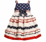 Bonnie Jean Mixed Print Patriotic Sundress