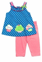 Turquoise Dot Cupcake Top With Pink Leggings