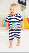 Mud Pie - Navy Striped Terry Car Romper
