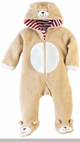 Mud Pie Baby Boys Bear Hooded Zip Front Coverall Fleece